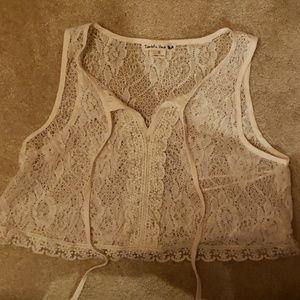 Ivory lace cropped tank